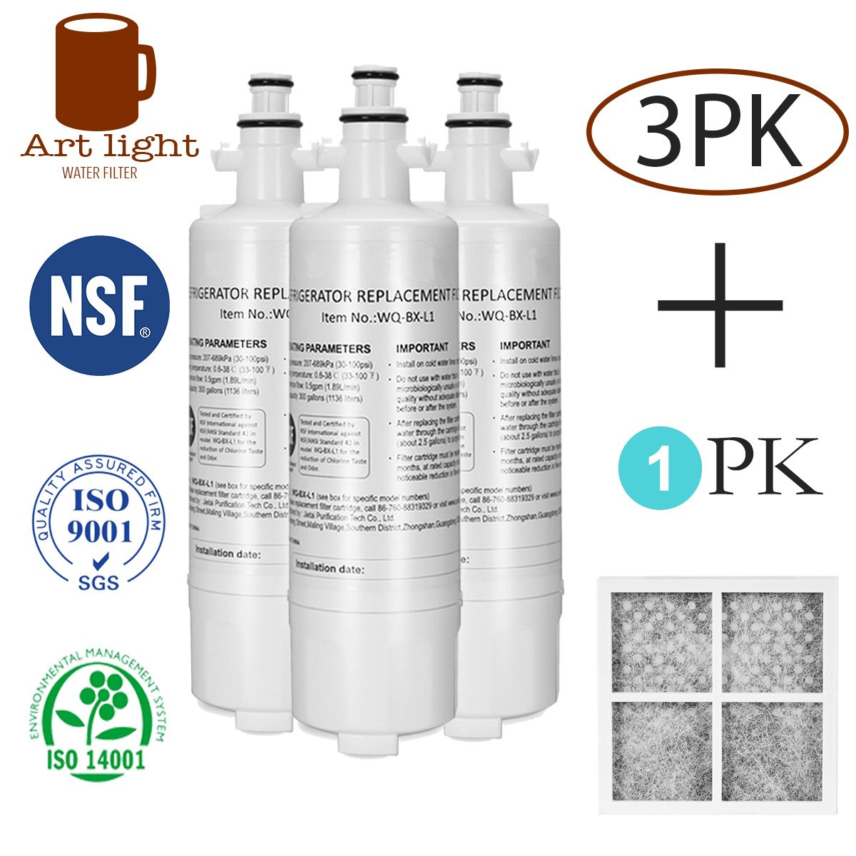 Art light LT700P Kenmore 46-9690 Water Filter 3Pack + Air filter Replacement for LG LT700P Kenmoreclear 46-9690 LG ADQ36006101 ADQ36006102 ADQ36006102S LT700PC SWIFT GREEN SGF-LA07 WATER SENTINEL WSL