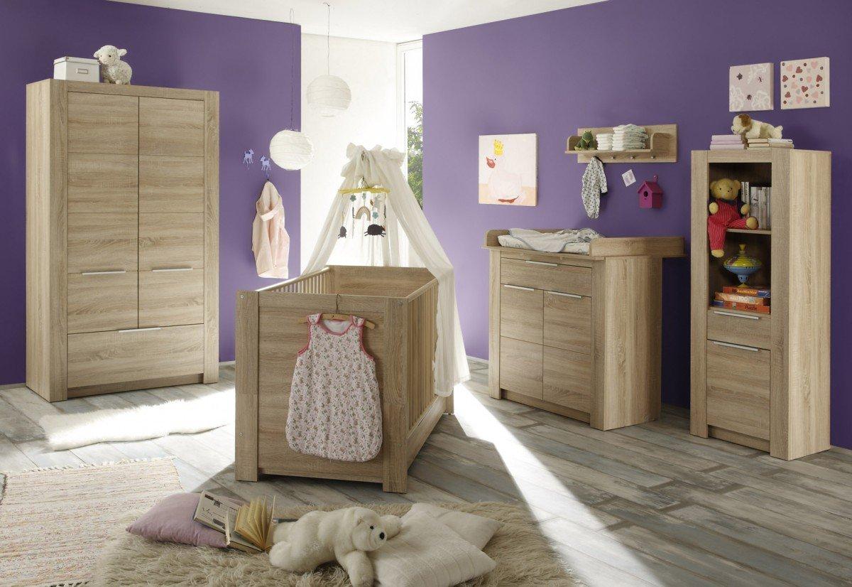Dreams4Home Babyzimmer Set 'Stine II', Babyzimmerkombination,Babyzimmer komplett,Babybett,Wickelkommode,Kleiderschrank,Eiche Sägerau hell