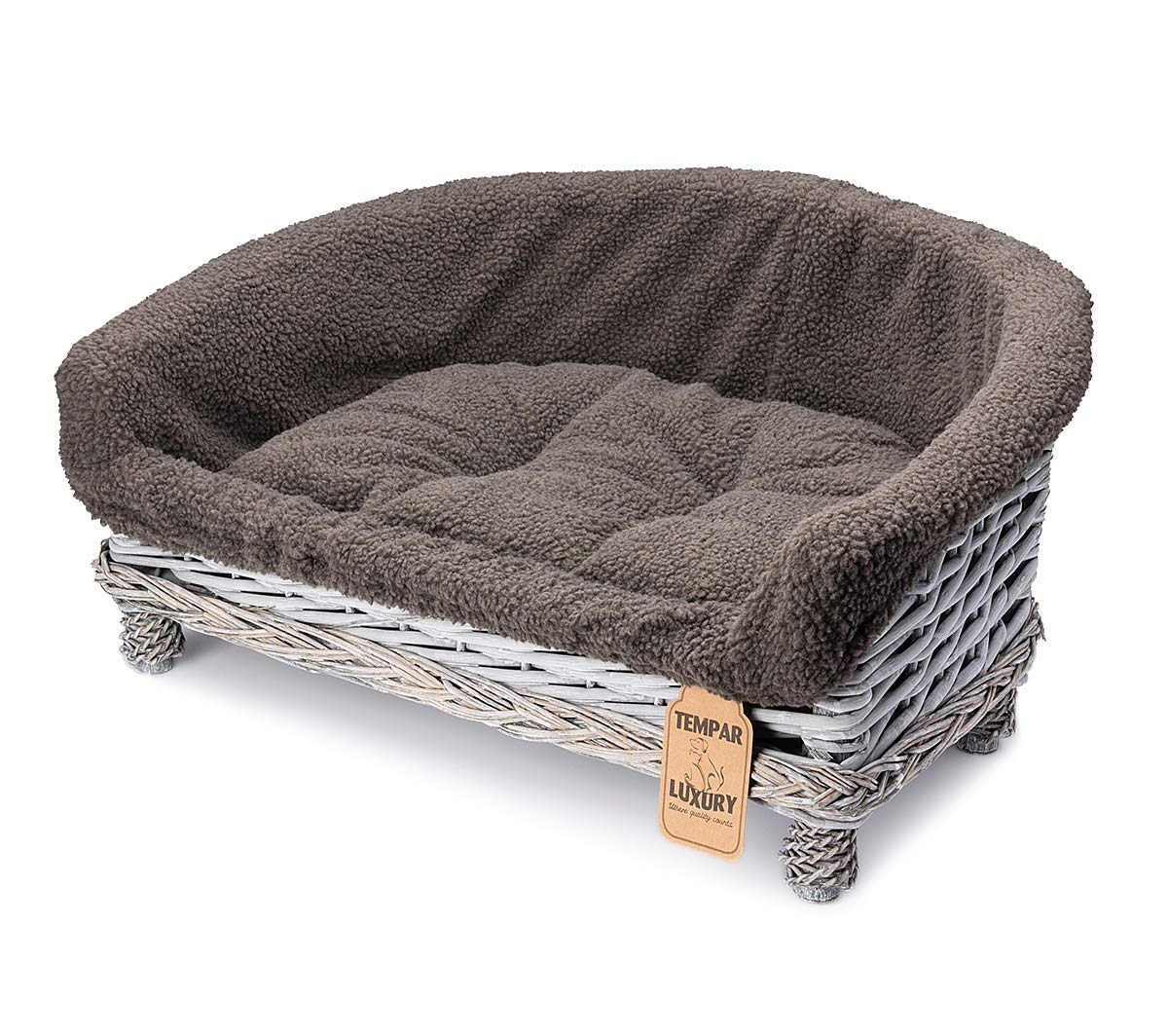 Awesome Tempar Luxury Handmade Half Moon Wicker Pet Cat Dog Sofa Couch Cushion Blanket Beds Free Replacement Cushion And Cover Medium Dark Grey Andrewgaddart Wooden Chair Designs For Living Room Andrewgaddartcom