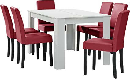 [en.casa] Tavolo da pranzo bianco opaco con 6 sedie rosse scure imbottite similpelle 14x9 sala da pranzo set