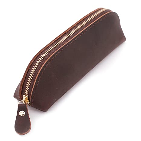 9aa946e8e2 Amazon.com: Collasaro Small Leather Pencil Case for Men Women Zippered Pen  Pouch Stationery Holder Cosmetic Bag for School Work Office (Coffee):  Collasaro