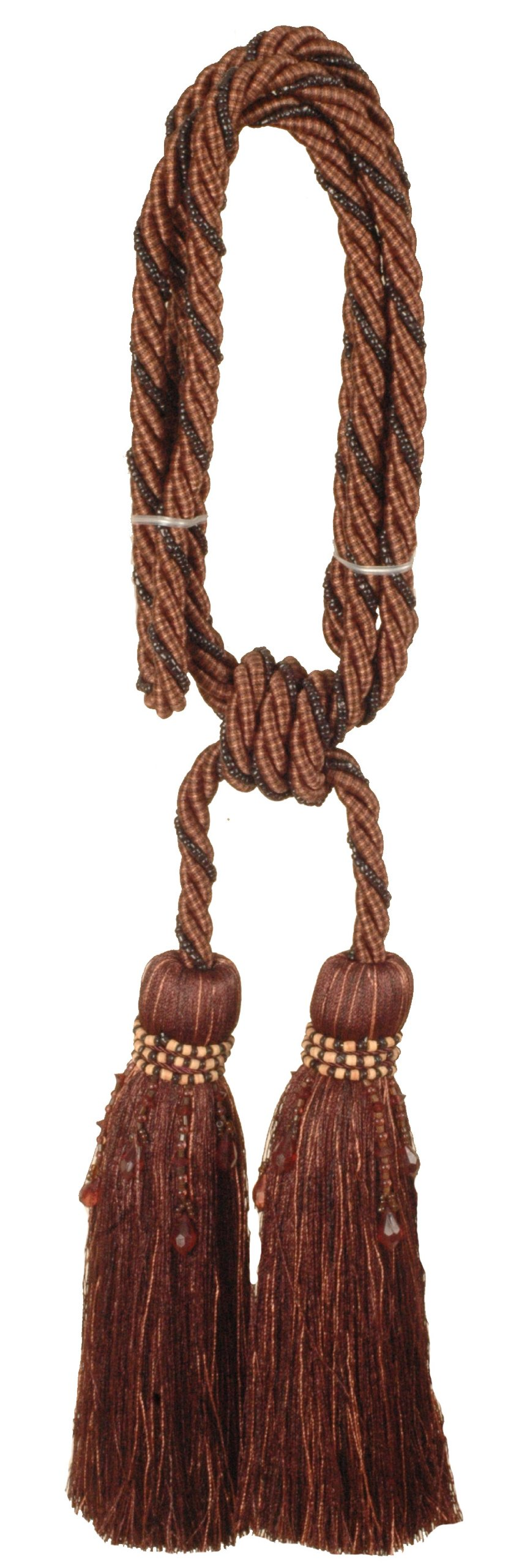 India House 76212 Milano Tieback with 8-Inch Double Tassel and 36-Inch Cord, Chocolate Mix