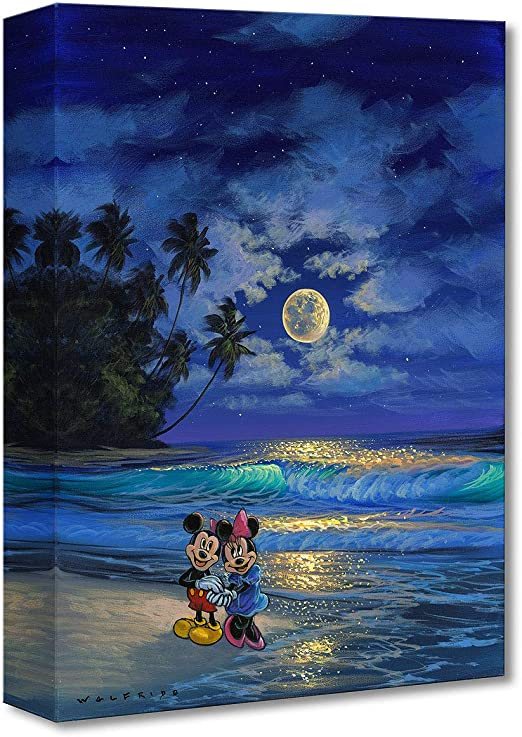 Disney Fine Art Romance Under The Moonlight by Walfrido Garcia Treasures on Canvas Mickey and Minnie Mouse 16 Inches x 12 Inches Reproduction Gallery Wrapped Gicl/ée on Canvas Wall Art