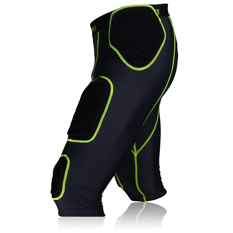 Negro//Neon Verde Full Force Football Unterhose shocc Lite 7/Pad