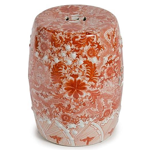 Best Amazon.com: Asian Traditional Orange Ceramic Garden Stool with  QU04