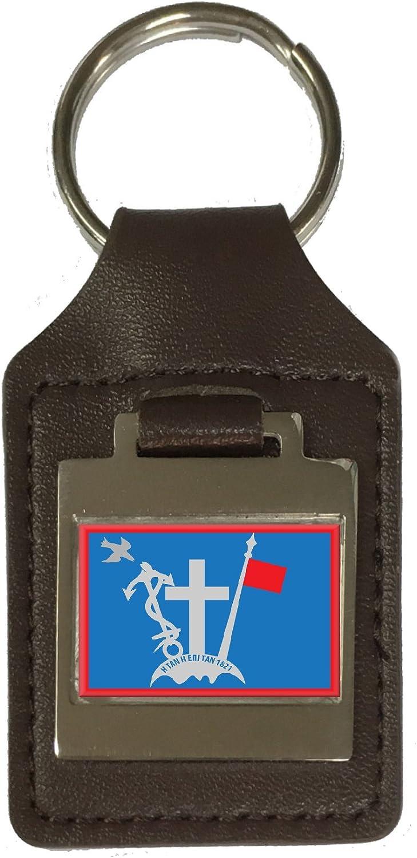 Leather Keyring Engraved Hydra City Greece Flag