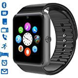 Smartwatch, CHEREEKI Smart Watch con Camera Orologio Intelligente con Macchina Fotografica SIM / TF Card Slot Schermo Touch Contapassi per IOS Android Samsung Huawei Honor (Nero-A)