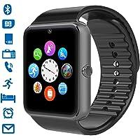 Smartwatch, CHEREEKI Smart Watch con Camera Orologio Intelligente con Macchina Fotografica SIM / TF Card Slot Schermo Touch Contapassi per IOS Android Samsung Huawei Honor (Nero-A)