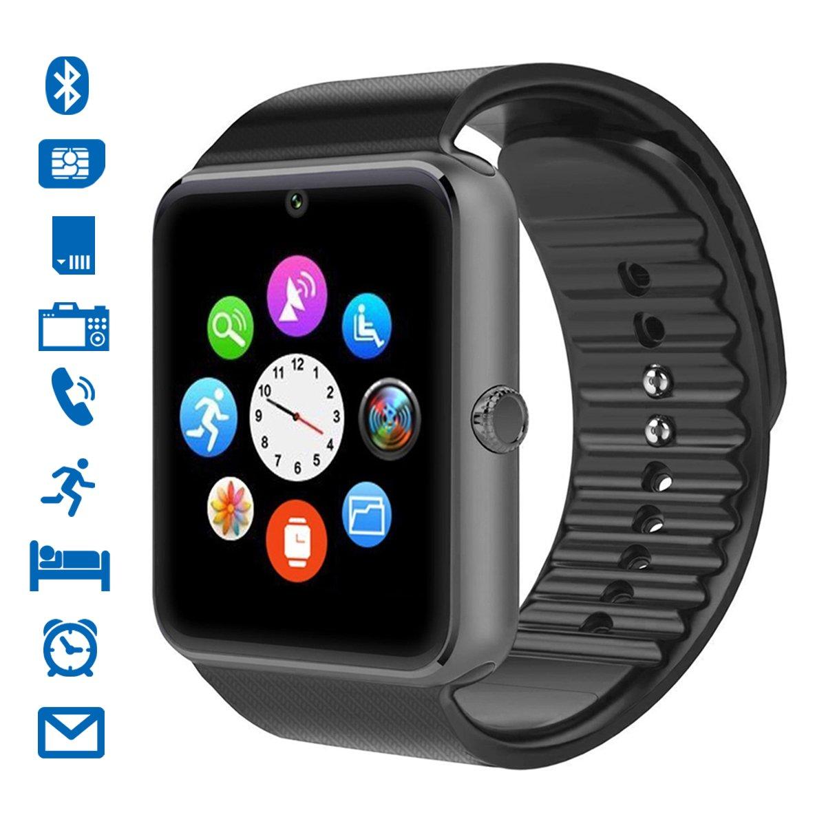 Smartwatch, CHEREEKI Bluetooth Smart Watch con Camera Orologio Intelligente con Macchina Fotografica SIM / TF Card Slot Schermo Touch Contapassi per Smartphone Android Samsung Huawei Honor HTC LG Sony (Nero-A) product image