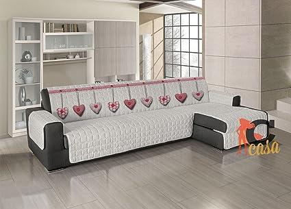 Capitan Casa - Funda acolchada para sofá, protector de sofá, con chaise longue, diseño con corazón colgante