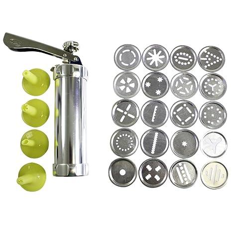 Kit Máquina Galletas 25 Piezas Aluminio con Discos y Boquillas por Kurtzy - 20 Discos de Acero Inoxidable y 4 Boquillas para Masa y Fondant - ...