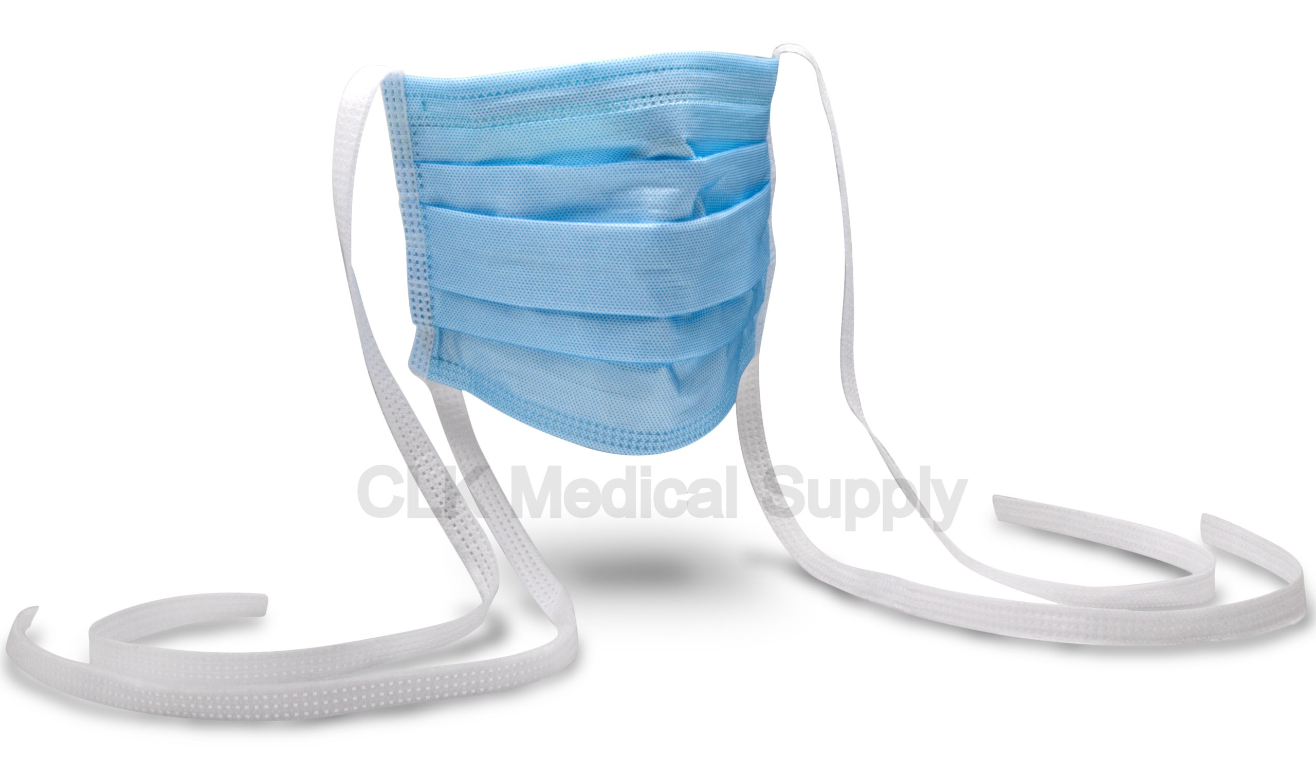 CLK Max-D Tie On Surgical Masks, Blue, 500pcs/Case, 10 Boxes per Case, Box of 50, 4 ply, 4 folded, (Light and Soft) (FDA 510K, CE, ASTM Level III, EN14683 Type IIR) (99% BFE, 99% PFE) by CLK