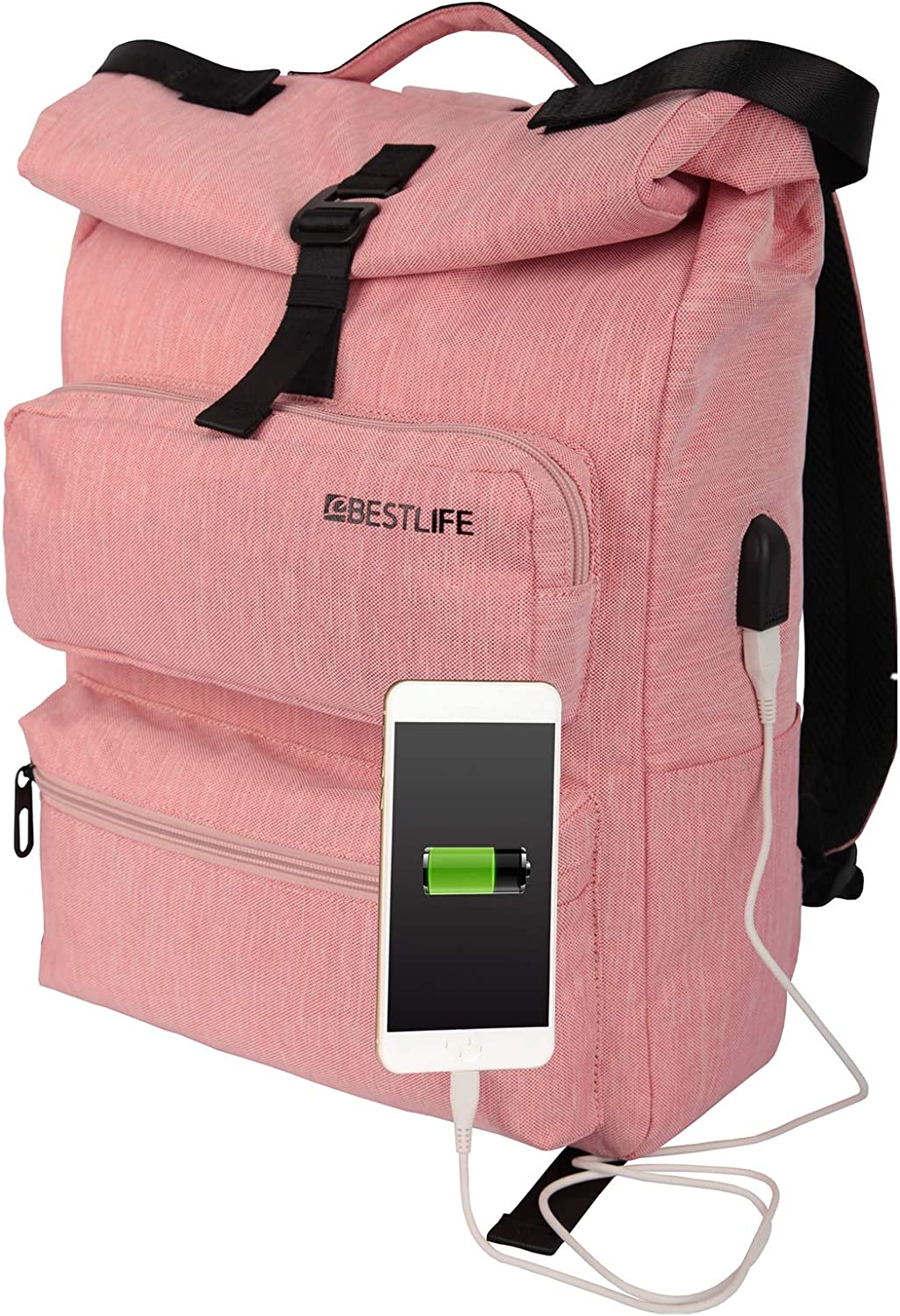 Ground Mind Laptop Backpack 15.6 Inch Roll Top Lightweight Rucksack Travel Anti-Theft Casual Daypacks with USB Connector for Women Pink