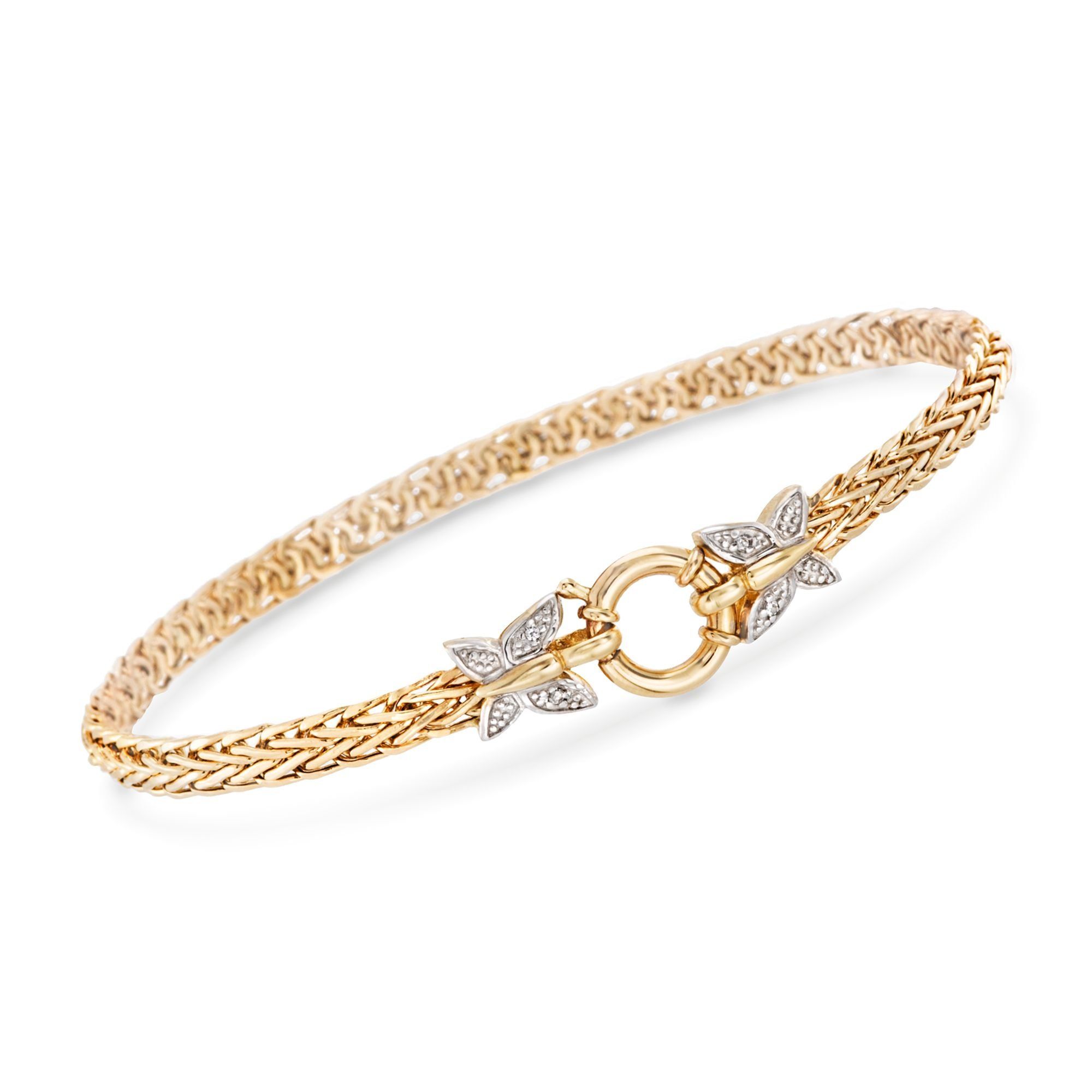 Ross-Simons 14kt Yellow Gold Butterfly Wheat Link Bracelet With Diamond Accents