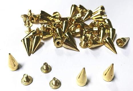 100Pcs Alloy Metal Bullet Spikes Studs Rivets Cone Screwback Spots 14 Colors