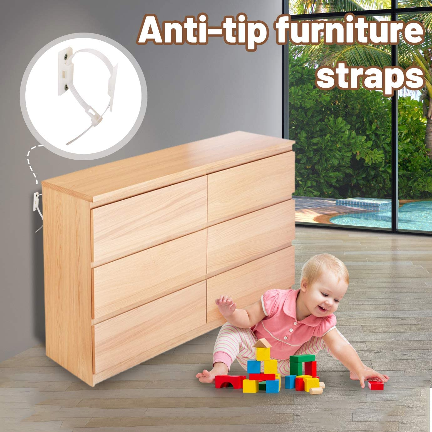 QUACOWW 16 Pieces Furniture Straps Adjustable Baby Anti-Tip Furniture Anchor Straps Kit Falling Furniture Prevention Device for Bookshelf Dresser