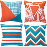 WLNUI Orange and Teal Decorative Pillow Covers 18x18 Inch Set of 4 Modern Geometric Bicycle Throw Pillow Covers Soft Square C
