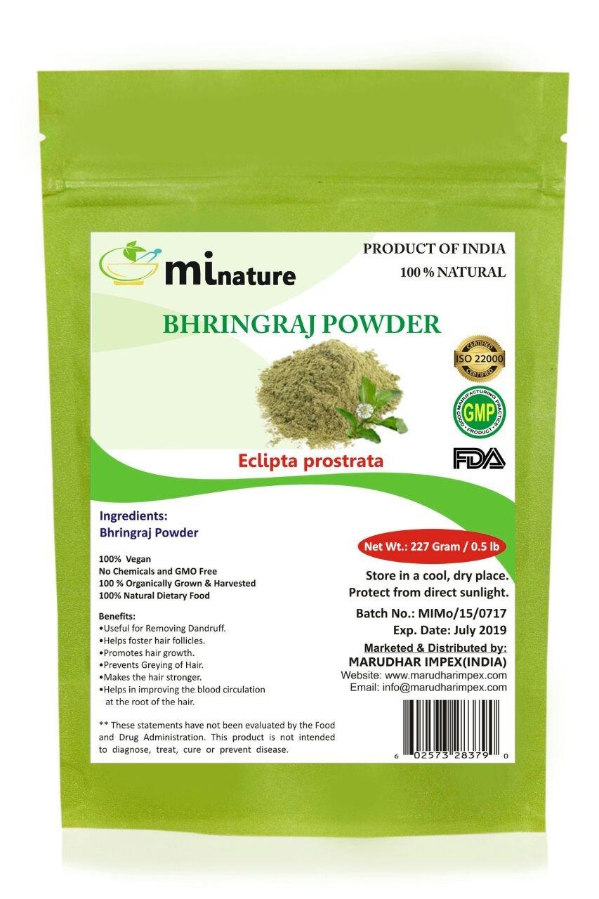 mi nature Bhringaraj powder Eclipta alba, leaf powder / 100% Pure, Natural and Organic / (227g / (1/2 lb) / 8 ounces) - Resealable Zip Lock Pouch by mi nature