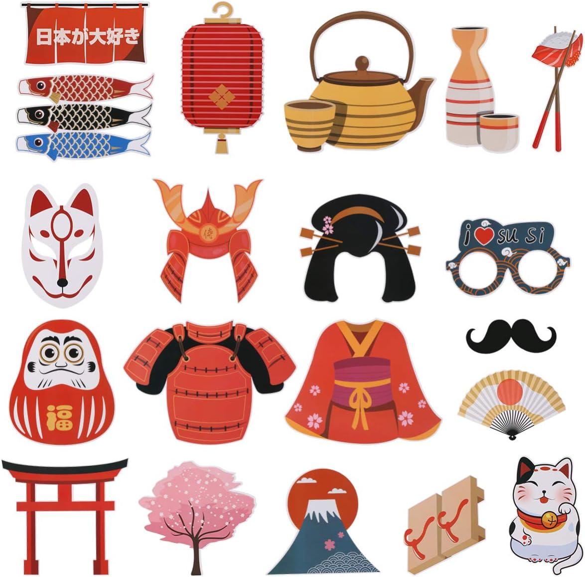 per feste di Halloween matrimoni 20 pezzi compleanni Kit di accessori per foto giapponesi Kitsune Kabuki Natale Amosfun