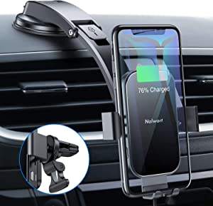Nalwort Wireless Car Charger 15W Qi Fast Charge with Metal Frame Dashboard and Air Vent Phone holder Auto Clamping Wireless Car Charger Mount for iPhone SE 2020/11 Pro Max/11, Samsung S20/S10 and More