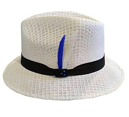 White Pachuco Lowrider Brim Derby Fedora White Straw Hat Blue White Feather  (55) f5bfaa53058