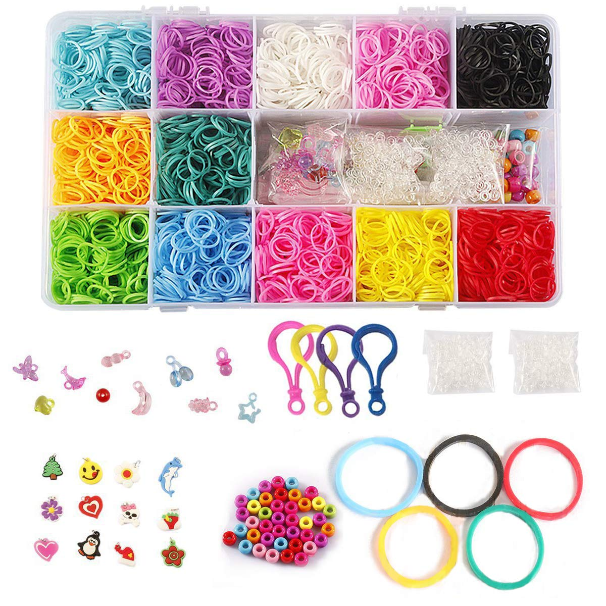 STSTECH DIY Loom Refill Kit for Crafting Gadgets Friendship Bracelet -5500 Rubber Bands Set with 6 Hooks,100 S-Clips,12 Silicone Charms,45 beads (12 Rainbow Colors) by STSTECH