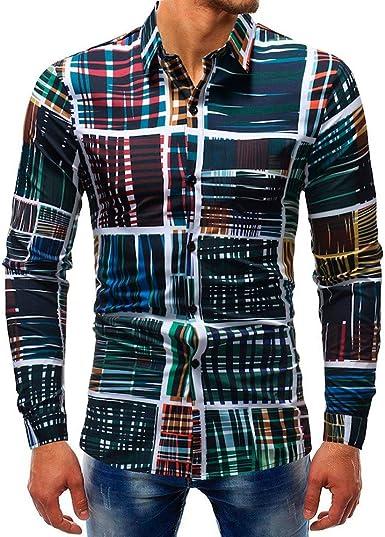 JURTEE Camisa Cuadros Hombre Moda Slim Fit Blusa Manga Larga Camiseta De Solapa Tops con Botones Remera T-Shirt: Amazon.es: Ropa y accesorios