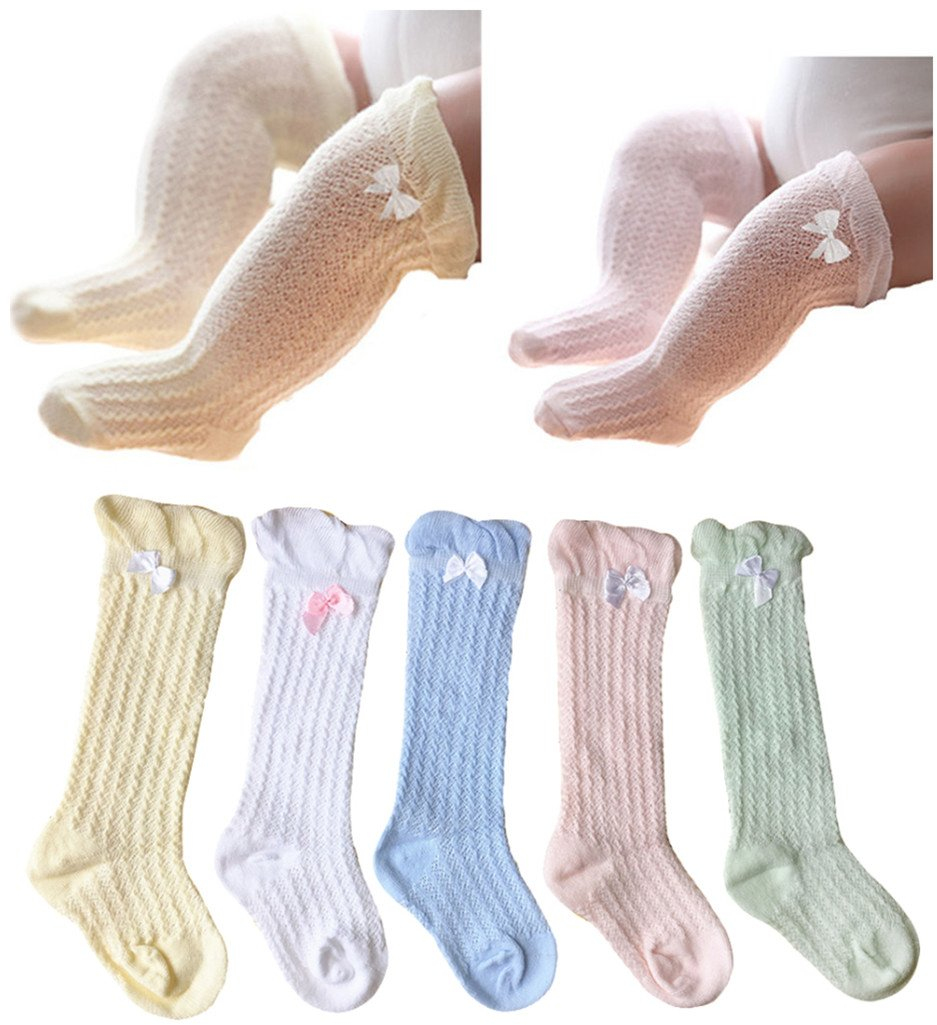 QandSweet Baby Girl Knee-High Socks Toddlers Breathable Mesh Dance Sock Summer Anti-mosquito Socks (0-12M, Mix 5 Colors)