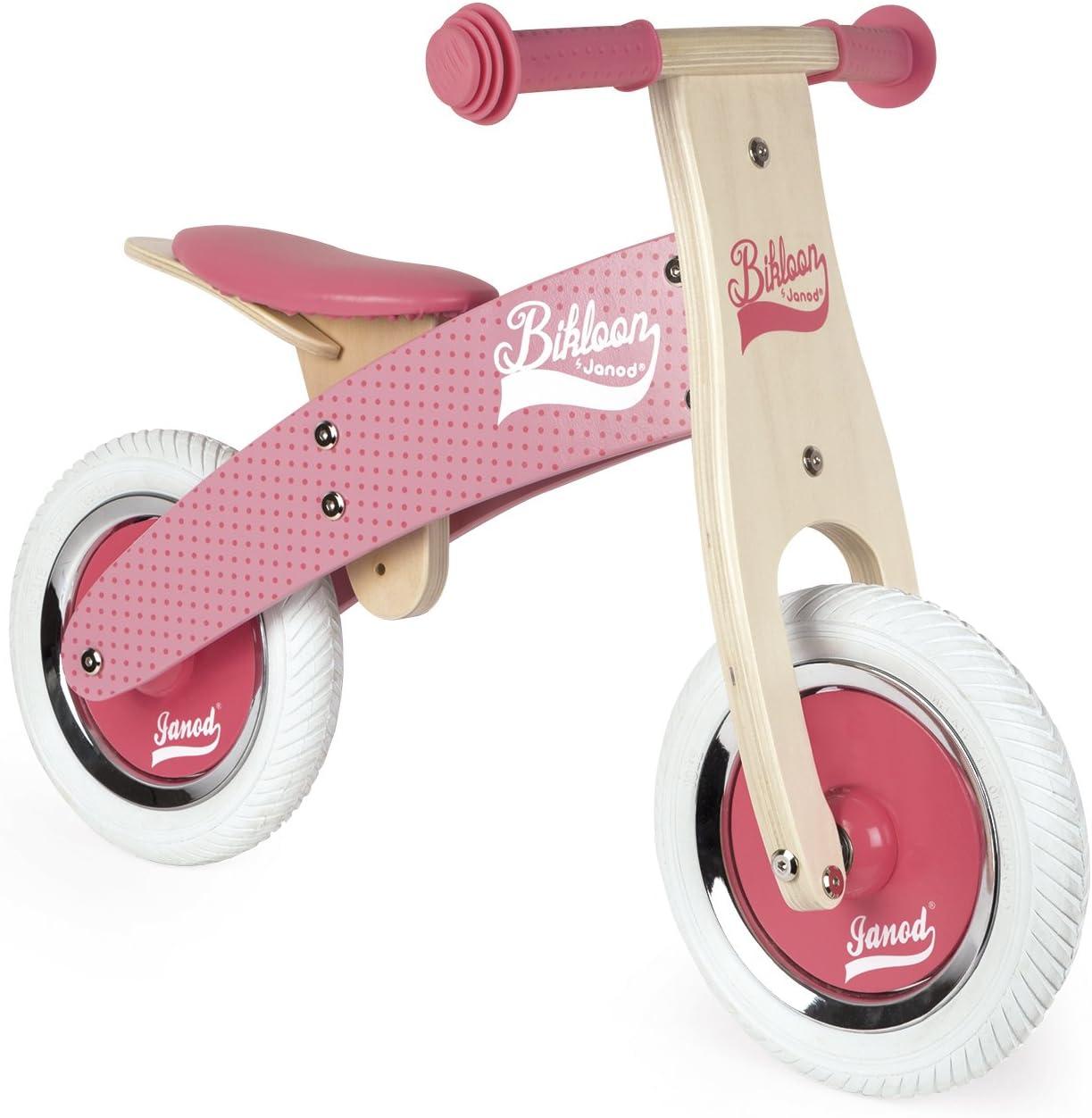 Janod - Little Bikloon Mi Primera Bicicleta sin Pedales, Madera, Rosa (J03259)