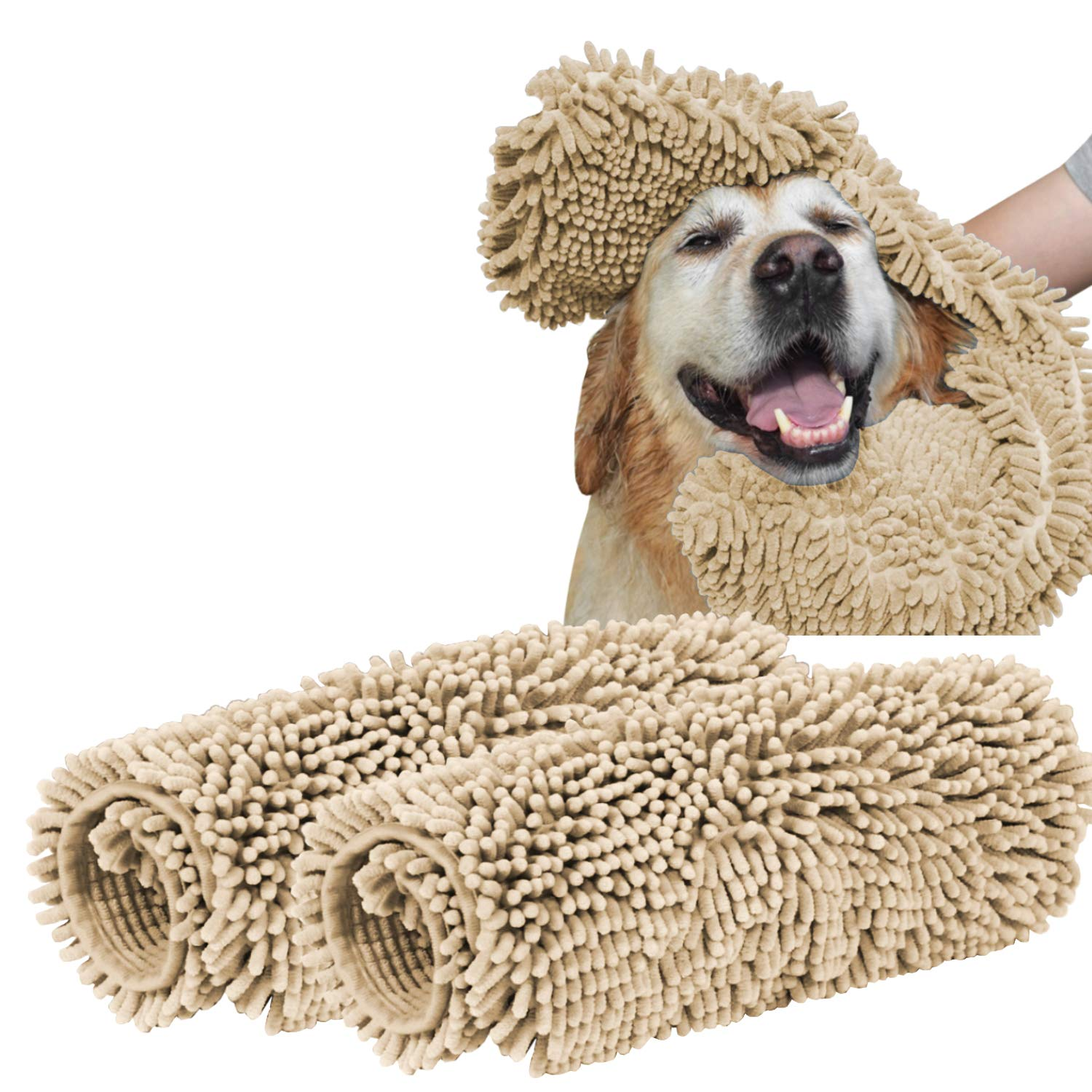Taupe Medial (24\ Taupe Medial (24\ Turquoize Super Shammy Dog Towel Ultra Soft Microfiber Chenille Dog Pet Bath Dry Towel Hand Pockets Super Absorbent Durable Quick Drying Washable Towel Prevent Mud Dirt Taupe (24 x 14 Inch, 2 Pack)