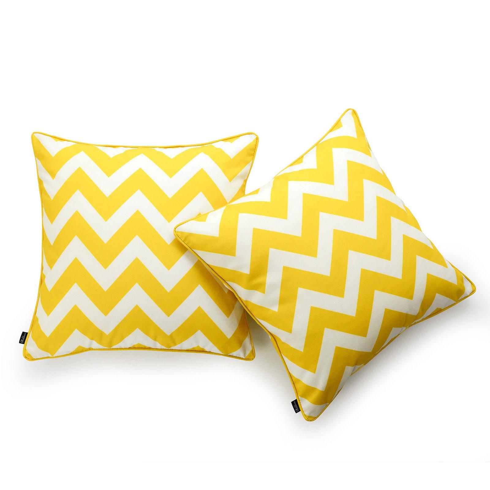 Hofdeco Decorative Throw Pillow Cover INDOOR OUTDOOR WATER RESISTANT Canvas Vibrant Yellow Zigzag Chevron 18''x18'' Set of 2