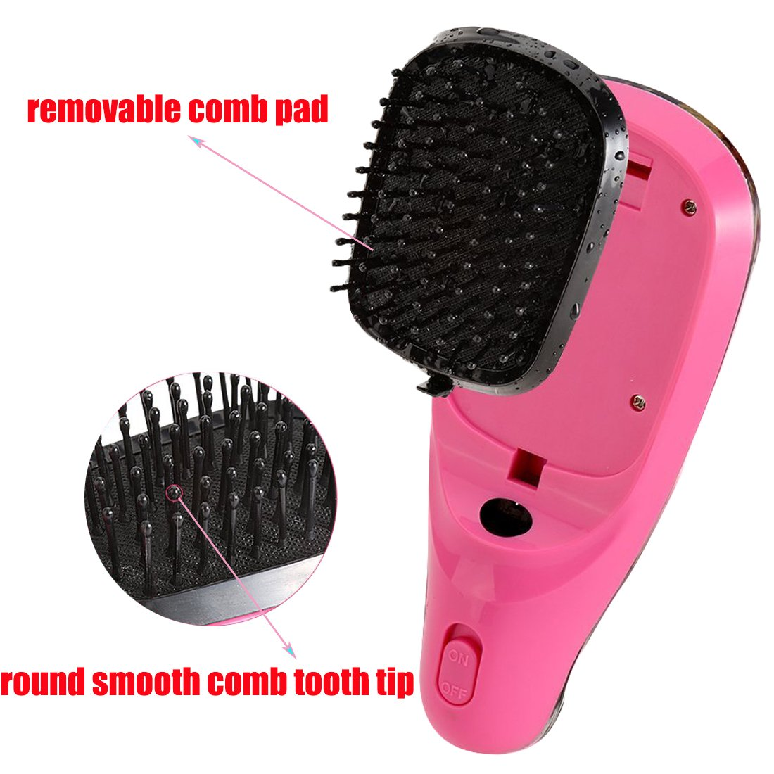 Lookathot Mini Portable Hair Straightener Brush Detangling USB Rechargeable Hair Styling Comb Anion Hair Massager Travel Light Weight (Black) by Lookathot (Image #4)