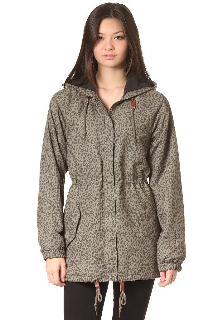 Obey Everett Leopard Print Parka Coat Junior's Jacket-L