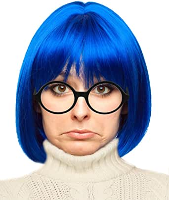 Costume Adventure Blue Bob Wig and Glasses Character Costume Set