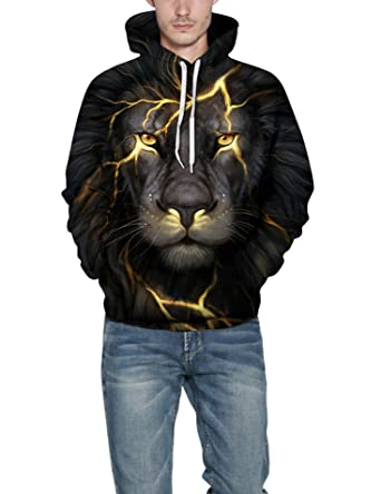 db5d54f7aaba Amazon.com  Trifuness Unisex 3D Graphic Printed Hooded Sweatshirt Casual Pullover  Hoodie  Clothing