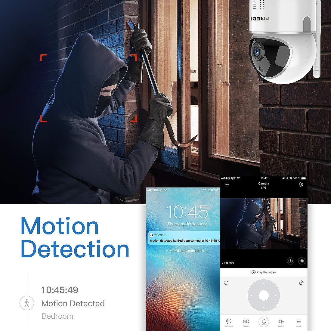 Negro FREDI Y10-1080P C/ámara IP en la Nube Seguridad para el hogar C/ámara de vigilancia//Auto Seguimiento Inteligente//Red WiFi C/ámara inal/ámbrica//Detecci/ón de Movimiento C/ámara