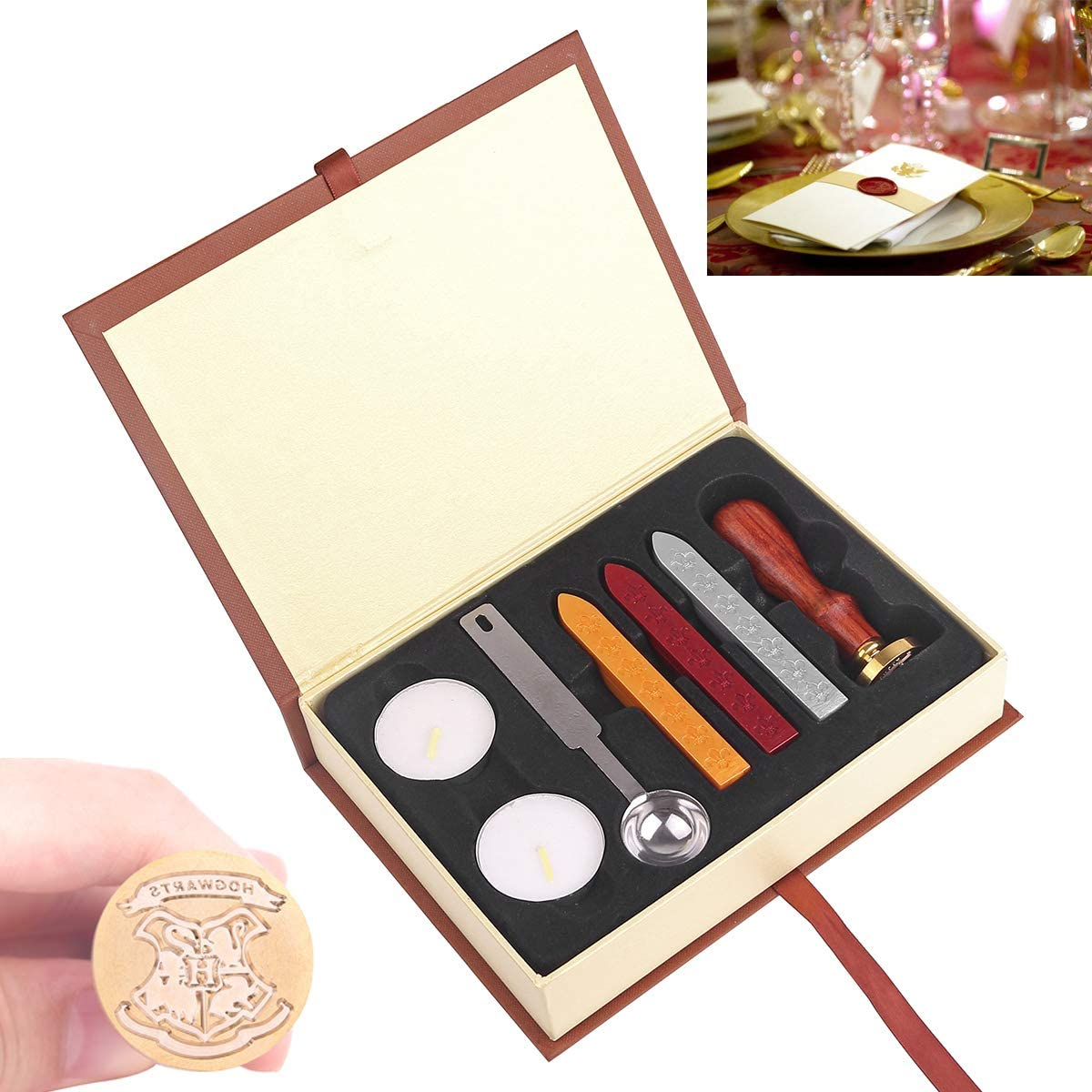 HITECHLIFE Kit de Sello de Cera Kit de Sello de Harry Potter Juego de Sello de Cera de Escuela Insignia