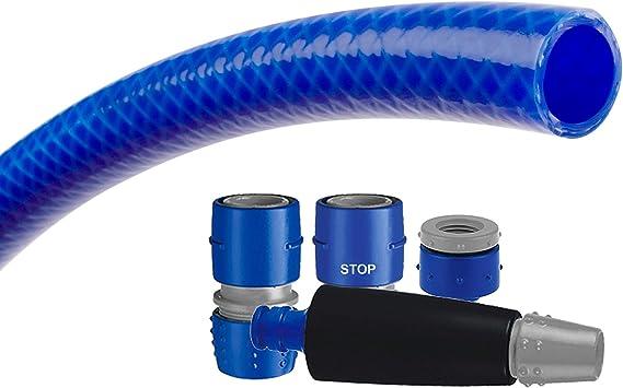 Tatay 9935105 Blue Line - Kit Manguera y Conectores para riego de terraza o jardín, 15 Metros de Largo, 5/8