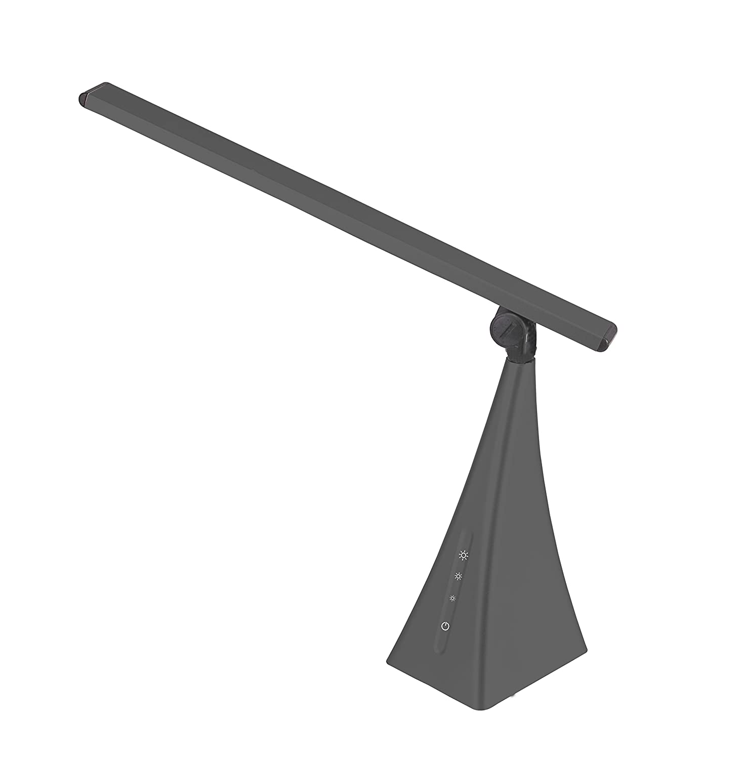 V-LIGHT LED Energy-Efficient Pyramid Style Desk Lamp with USB Charging Port and 3-Level Touch Dimming Switch, Charcoal Gray VSLD363GN