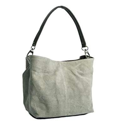 2867488a86 Big Handbag Shop Womens Mini Real Italian Suede Leather Single Strap Hobo  Slouch Bag (Taupish Grey)  Amazon.co.uk  Shoes   Bags