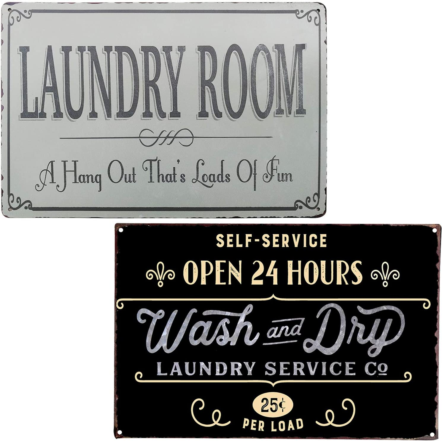 PXIYOU Laundry Room Self-Service Open 24 Hours Wash and Dry Vintage Metal Sign for Washroom Home Decoration 2Pcs-8X12Inch