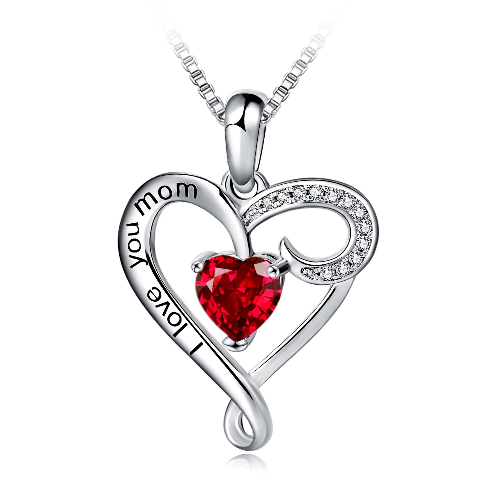 Mother's Birthday Gift''I Love You Mom'' S925 Sterling Silver Heart Pendant Necklace