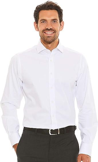 Savile Row Company Mens White Bedford Stripe Slim Fit Non-Iron Shirt - Single Cuff: Amazon.es: Ropa y accesorios