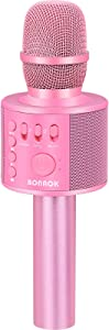 BONAOK Wireless Bluetooth Karaoke Microphone,3-in-1 Portable Handheld Karaoke Mic Speaker Machine Christmas Birthday Home Party for Android/iPhone/PC or All Smartphone(Q37 Light Pink)