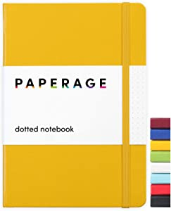 Paperage Dotted Journal Bullet Notebook, Hard Cover, Medium 5.7 x 8 inches, 100 gsm Thick Paper (Yellow, Dotted)