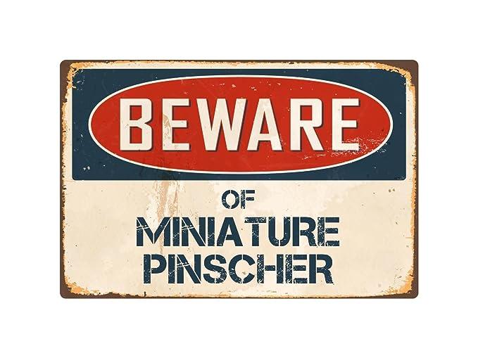 """Beware Of Miniature Pinscher 8"""" x 12"""" Vintage Aluminum Retro Metal Sign VS279"""
