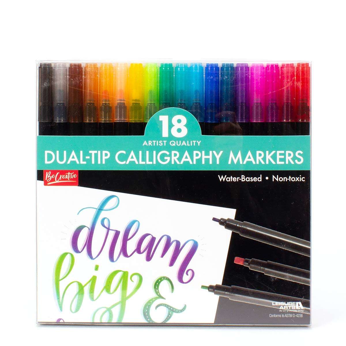 Leisure Arts, 18 Artist Quality Dual-Tip Calligraphy Markers, Hand Lettering Quality, Thick and Thin Lines, Water Based, Non-Toxic by LEISURE ARTS