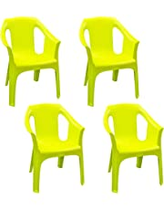 Resol Cool Pack of 4 Green Plastic Garden Chair