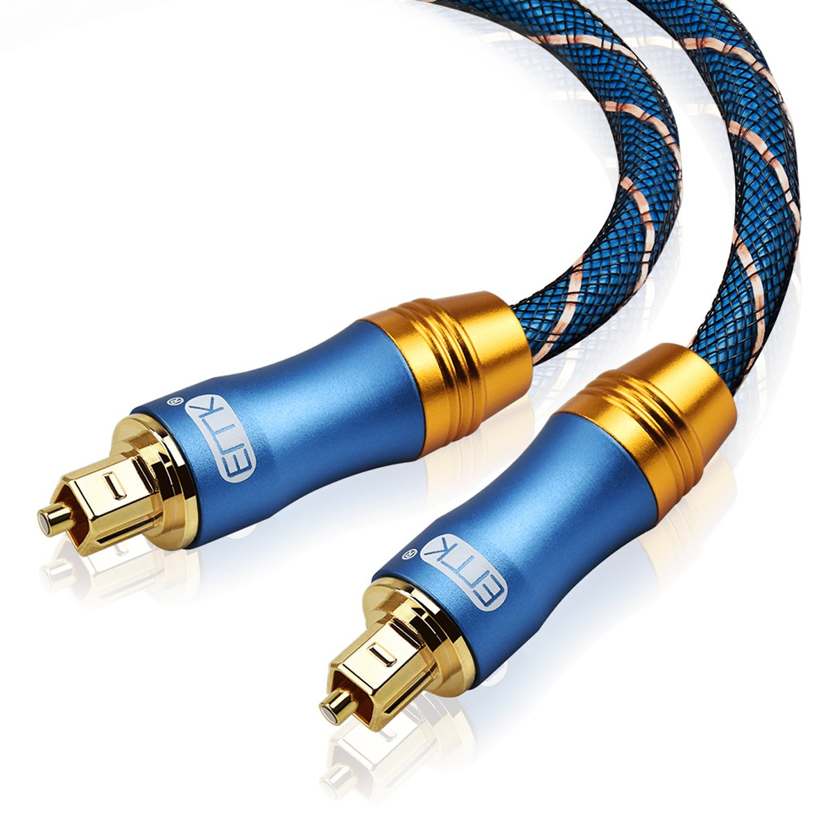 Optical Audio Cable Digital Toslink Cable - [Nylon Braided Jacket,Durable and Flexible]EMK Fiber Optic Cord for Home Theater, Sound bar, TV, PS4, Xbox & More - 6Ft/1.8M,blue - 15Ft/4.6M,blue