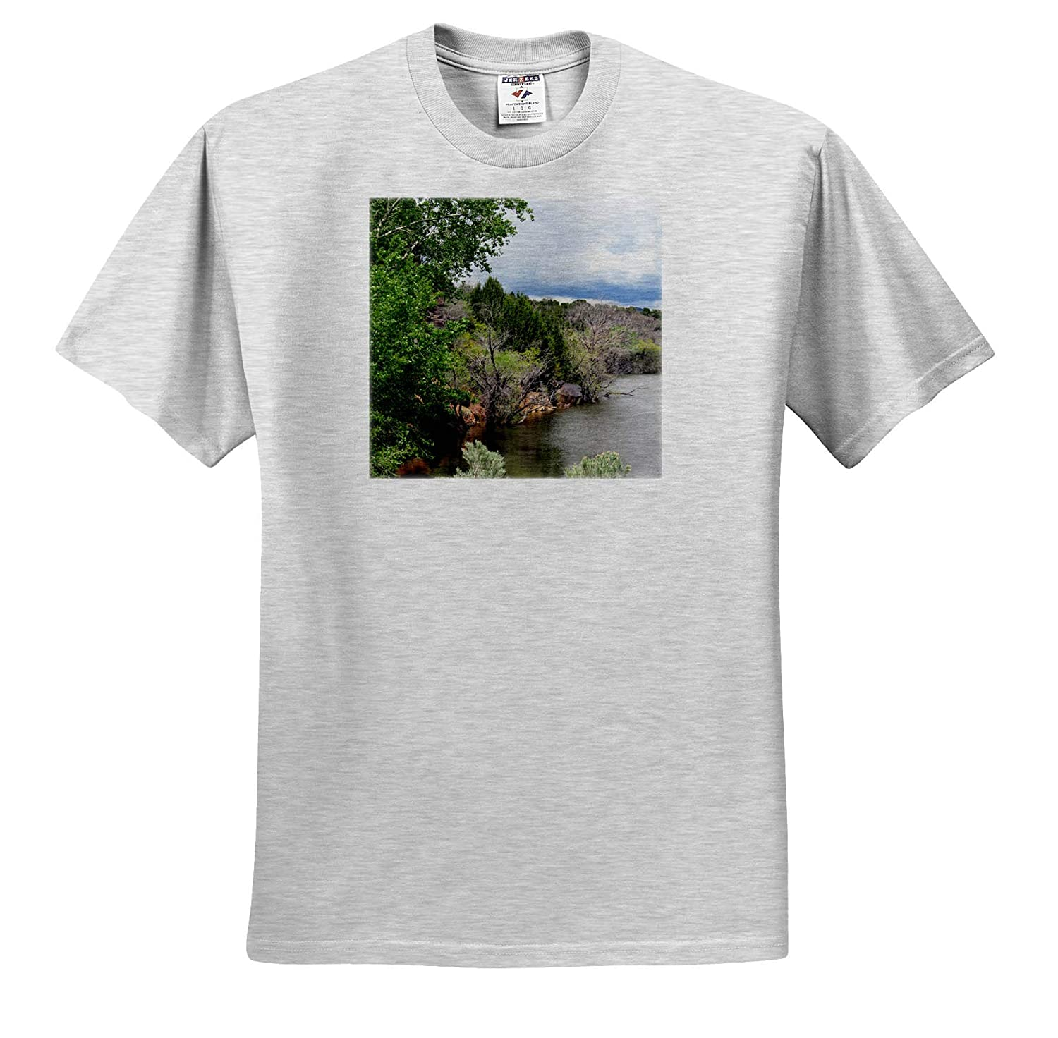 3dRose Jos Fauxtographee- Baker Dam Adult T-Shirt XL ts/_318998 The Edge of Baker Dam with The Trees and Brush